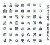 set of modern flat monochrome... | Shutterstock . vector #336303701