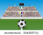 soccer field with ball and... | Shutterstock .eps vector #336305711