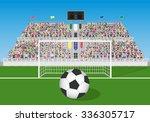 soccer field with goal  ball... | Shutterstock .eps vector #336305717
