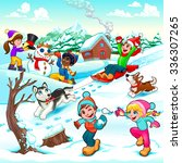 funny winter scene with... | Shutterstock .eps vector #336307265