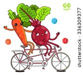 funny carrots and beets ride on ... | Shutterstock .eps vector #336309377