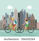 cycle tourism. people against... | Shutterstock .eps vector #336332264