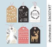 modern christmas gift tags with ... | Shutterstock .eps vector #336337697