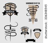 tailor vector logo with details ... | Shutterstock .eps vector #336348545