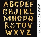 golden alphabet a z hand... | Shutterstock .eps vector #336358385