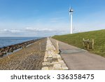 Dutch Coastline With Dike And...