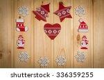 wooden christmas figurines... | Shutterstock . vector #336359255