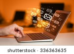concept of sending e mails from ... | Shutterstock . vector #336363635