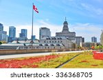 Stock photo view of toronto skyline from city hall in autumn 336368705