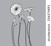 hand drawn wildflower on grey... | Shutterstock .eps vector #336374891