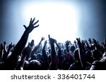 silhouettes of concert crowd in ... | Shutterstock . vector #336401744