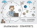 call center thin line design....   Shutterstock .eps vector #336409871