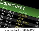 Airport Departures Board - stock photo