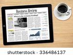business news on tablet with a... | Shutterstock . vector #336486137