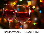 crystal glasses of wine on the... | Shutterstock . vector #336513461