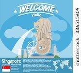 Singapore Landmark Merlion Wit...