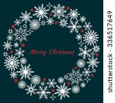 christmas wreath of snowflakes | Shutterstock .eps vector #336517649