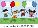 mixed ethnic happy children... | Shutterstock .eps vector #336519305