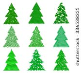 collection of green fur trees... | Shutterstock .eps vector #336538325