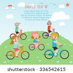 set of diverse  family riding... | Shutterstock .eps vector #336542615