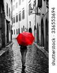 Woman With Red Umbrella On...
