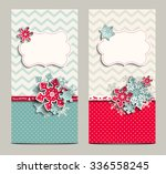 two greeting cards in shabby... | Shutterstock .eps vector #336558245