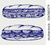 sub sandwich with sausage ... | Shutterstock .eps vector #336580379