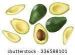 Avocado Pieces Set Isolated On...