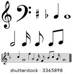 music notes and symbols with... | Shutterstock . vector #3365898