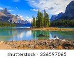 spirit island in maligne lake... | Shutterstock . vector #336597065