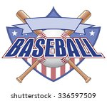 baseball design with shield is... | Shutterstock .eps vector #336597509
