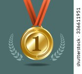 gold medal with wreath for... | Shutterstock .eps vector #336611951