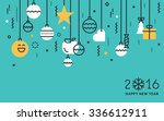 flat line design new year's... | Shutterstock .eps vector #336612911