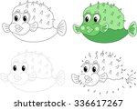 cartoon pufferfish. dot to dot... | Shutterstock .eps vector #336617267