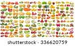 set of fruit isolated on white... | Shutterstock . vector #336620759