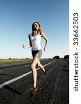 the woman running on road... | Shutterstock . vector #33662503