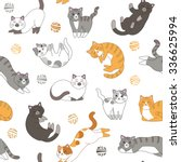 Stock vector funny cartoon cute red orange gray white black cats seamless pattern for children sleeping 336625994