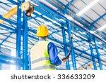 worker in factory controlling... | Shutterstock . vector #336633209