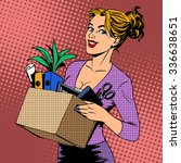new job business lady comes to... | Shutterstock . vector #336638651