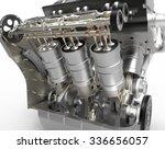 v8 turbo car engine on white ... | Shutterstock . vector #336656057