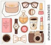 vector hand drawn fashion set... | Shutterstock .eps vector #336656585