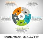 five piece flat puzzle round... | Shutterstock .eps vector #336669149
