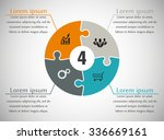 four piece flat puzzle round... | Shutterstock .eps vector #336669161
