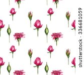 Rose Buds Pattern  Hand Drawn...