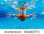 cute boy underwater in swimming ... | Shutterstock . vector #336682571