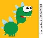 vector cartoon funny green... | Shutterstock .eps vector #336685001