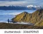 morning landscape. tourist on... | Shutterstock . vector #336690965