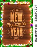 christmas tree branches and... | Shutterstock .eps vector #336697829