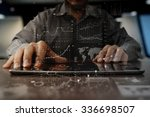 Businessman hand working on...