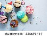Vibrant Cupcakes On Blue...